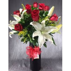 Dozen Roses & Lilies in Glass